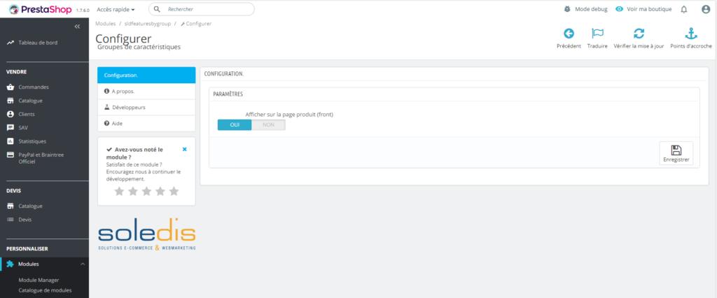 module groupes de caractéristiques configurer