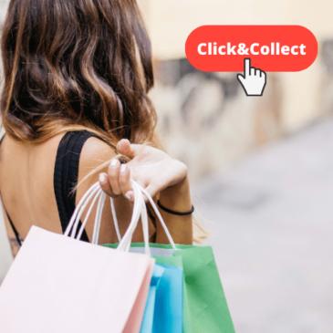 clickandcollect felle de dos avec sac de shopping et bouton click and collect