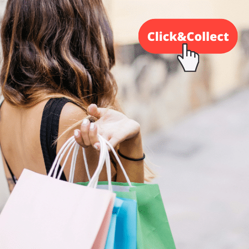 clickandcollect felle de dos avec sac de shopping et bouton click and collect